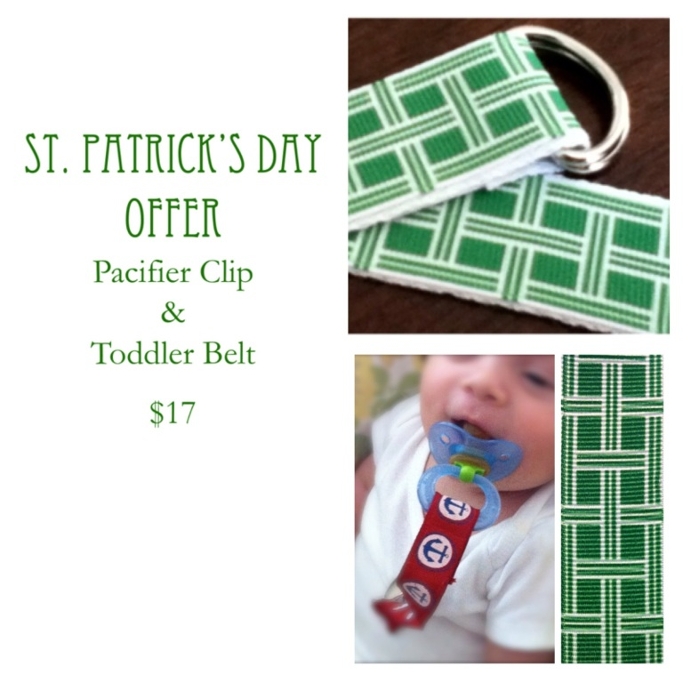 St. Patrick's Day Special, Matching Toddler Belt and Pacifier Clip, green plaid at our Etsy.com Shop: HandSalted
